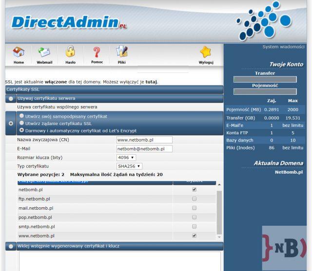 Darmowy certyfikat SSL - Przykładowa konfiguracja certyfikatu SSL