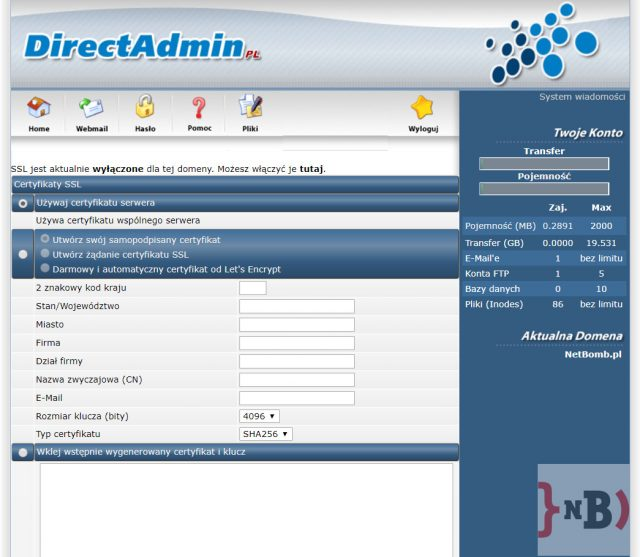 Darmowy certyfikat SSL - Włączenie certyfikatu SSL
