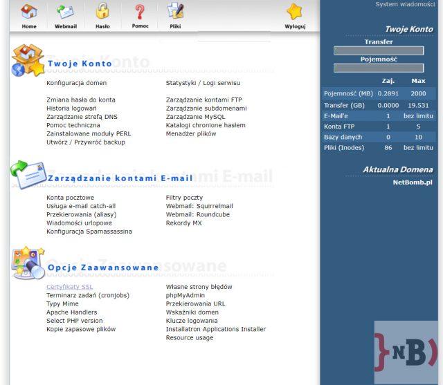 Darmowy certyfikat SSL - Po zalogowaniu wybieramy opcję Certyfikaty SSL