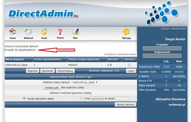 DirectAdmin - Przejdź do phpMyAdmin