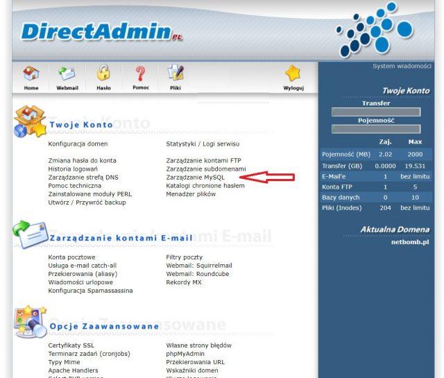 Użycie bazy danych w DirectAdmin