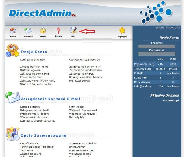 Direct Admin - Pliki
